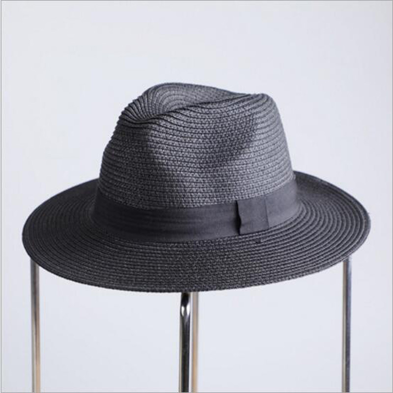 566dc148189 Free Delivery2018 New Summer Sun Hat For Women Black Ribbon Straw ...