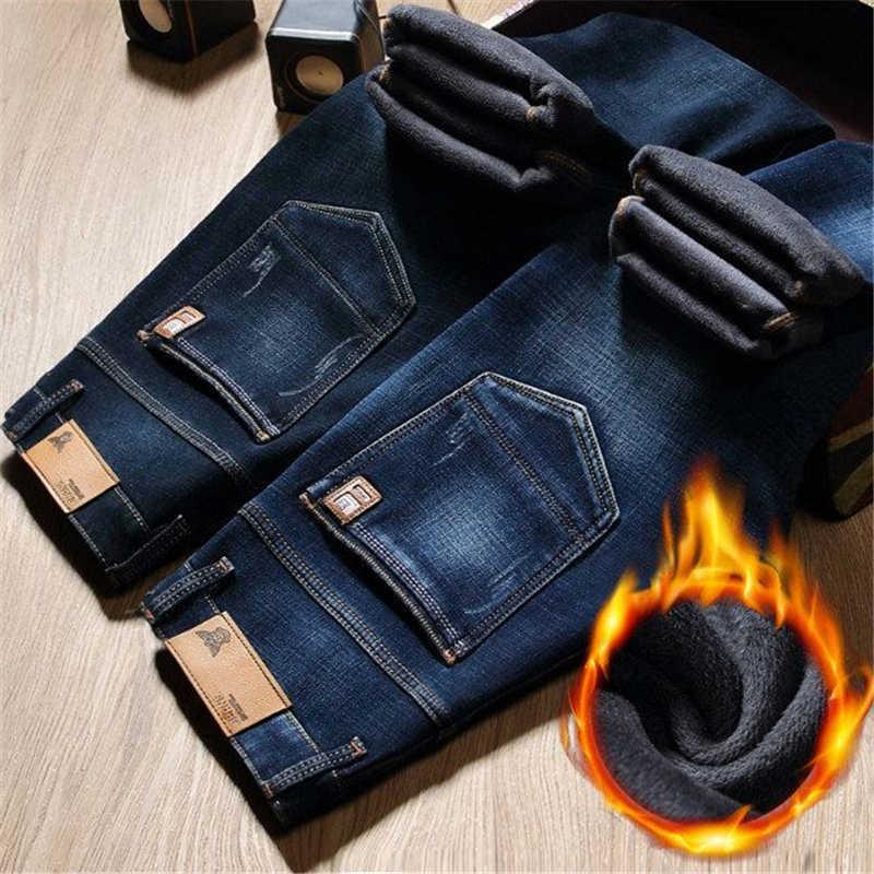 Pelliccia di inverno Caldo Degli Uomini Dei Jeans Homme Pantaloni Biker Spijkerbroek Mannen Hip Hop Jean Skinny Pantacourt Vaqueros Hombre Uomo Stretto Della Chiusura Lampo