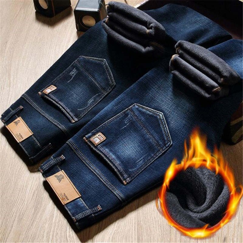 Winter Fur Warm Men Jeans Homme Pants Biker Spijkerbroek Mannen Hip Hop Jean Skinny Pantacourt Vaqueros Hombre Tight Man Zipper