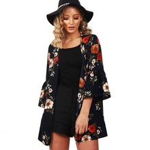 Hots Womens Blouses Fashion Sexy 3/4 Sleeves Floral Printed Long Cardigans Coat Lady Casual Blusas Camisas Mujer Black Navy Tops