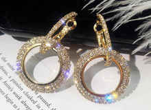 New Water Drill Circle Long Earrings with Sweet Temperament and Personality Exaggerated Female Jewelry