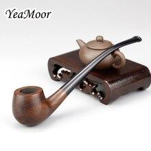 ヴィンテージ 17 センチメートルロング喫煙パイプ 3 ミリメートルフィルター黒檀木製パイプ 10 ツール送料曲がっ木製パイプたばこパイプ喫煙アクセサリー