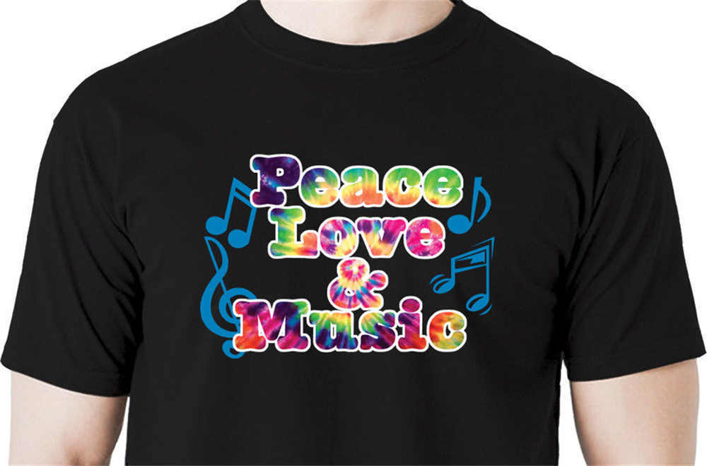 2018 Streetwear Short Sleeve Tees Peace love music t shirt hippie 60s peace heart tie dye guitar piano jazz Printed T Shirts Men