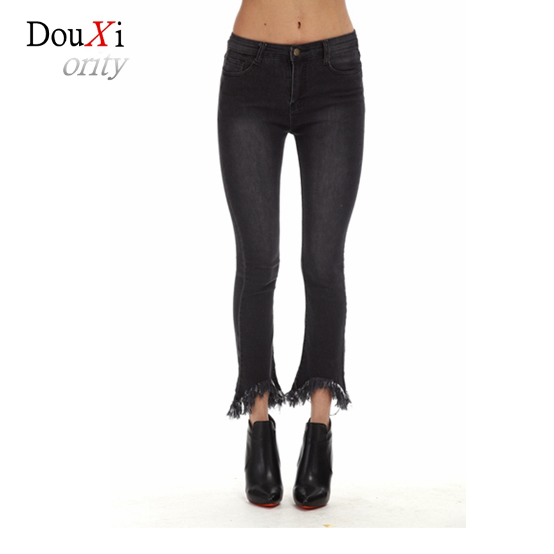 Douxiority Plus Size 5xl Women Jeans High Waist Stretch Skinny Slim Flare Pants Tassel Ankle-length Casual Femme Trousers high waist jeans women plus size femme stretch slim loose large size jeans pants 2017 casual ankle length haren pants trousers