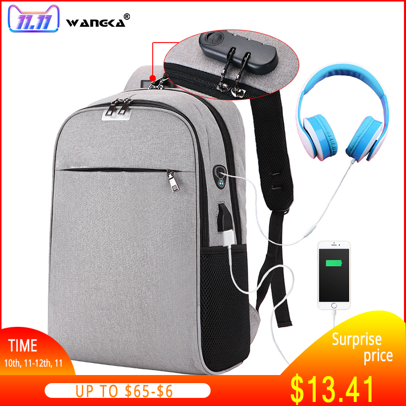 WANGKA USB Charging Laptop Backpack 15.6 inch Anti Theft Women Men School Bags For Teenage Girls College Travel Backpack Nylon dide cover anti theft backpack 14 inch laptop backpack pu leather school bags for teenage girls bag travel bag men women 787