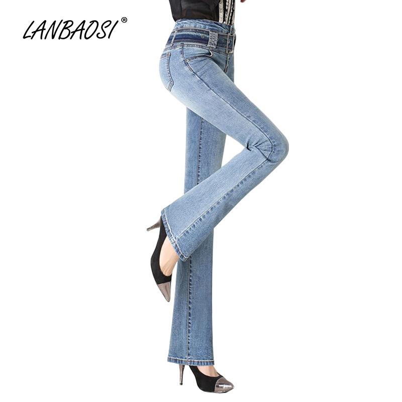 LANBAOSI JEANS Women's Flared Jeans High-rise Waistband Ladies Palazzo Flare Pant Blue Denim Pants Casual Wash Girls Trousers lanbaosi jeans cropped wide leg jeans for women high waist palazzo flare blue denim pants casual ladies mom jean wash trousers