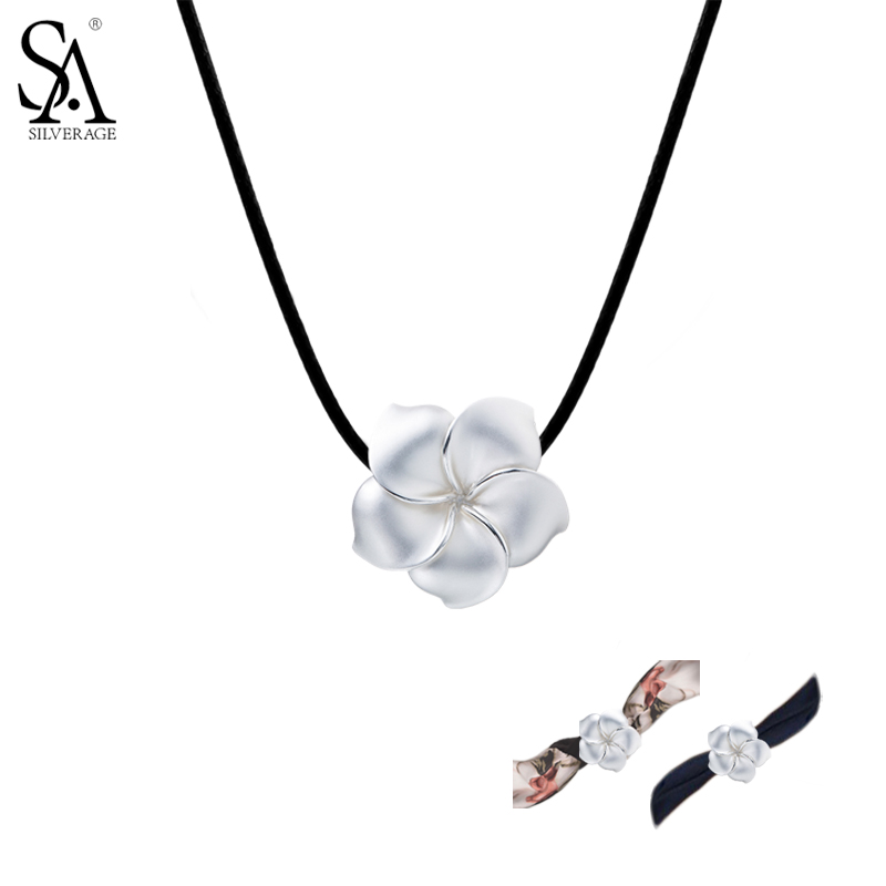 SA SILVERAGE 925 Sterling Silver Choker Necklaces for Women Collar Flower Leather Rose Navy Ribbon Trendy Statement Choker gift trendy flat collar sleeveless pocket design buttoned dress for women