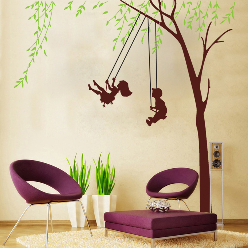 Boy Girls Swing Wall Stickers For Kids Rooms Green Tree Wall Decals Living  Room Bedroom Decor