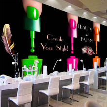 Beibehang Papel De Parede 3d Custom Wallpaper Black Nail Polish Shop Background Wall Infantil