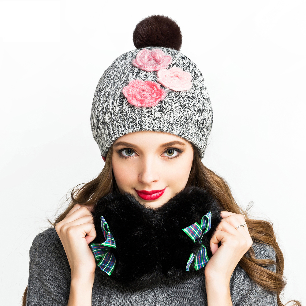 Floral Wome Sweet Cute Knitted Hat Autumn Winter Thick Warm Beanies Female Detachable Fur Top Earflap Cap