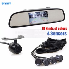 DIYKIT Video Parking Radar four Sensors four.three Inch Automotive Mirror Monitor + HD Rear View Automotive Digicam Parking Help System Package