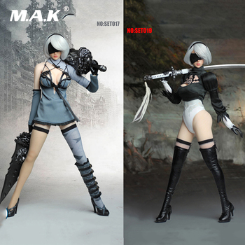 Sexy PS4 Game 1/6 NieR Automata 2B YoRHa No. 2 Type B Girl with Head Sculpt & Clothing Sets Accessory for 12'' Pale Figure Body