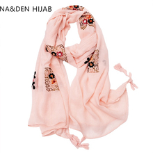 Solid embroidered hijab cotton tassels women scarf/scarves