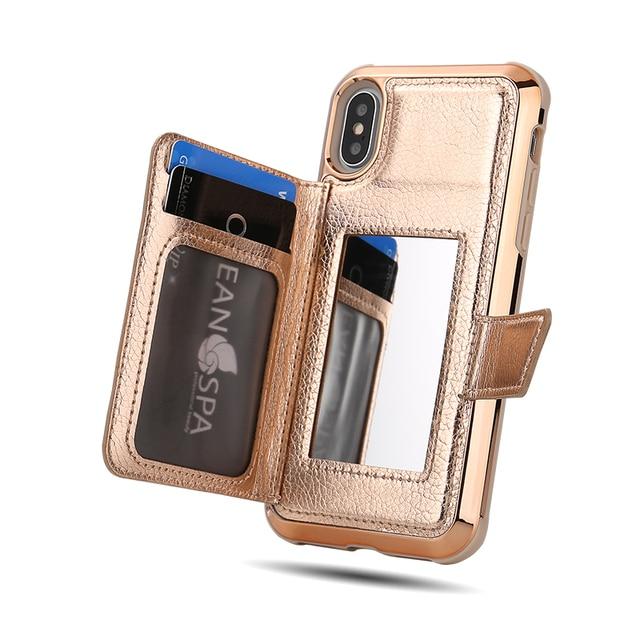 W7ETBEN カードケース iphone XS 最大 XR XS 6 7 8 プラス財布レザーケースとミラーのための銀河 S10 プラス S10e