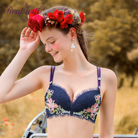 Realwill Exquisite Lily Embroidery Bra Comfortable Wireless Breathable Lingerie With Thin Lace Cover ABC Cup