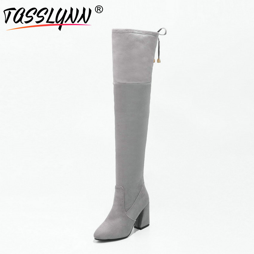 TASSLYNN 2018 Stretch Women Boots Square Heels Shoes Women Over The Knee Boots Short Round Toe Winter Woman Boots Size 34 43