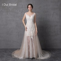 A Line Champagne Light Wedding Dresses Real Photo Sleeveless Lace Appliqued Illusion Neckline Illusion Light Weight