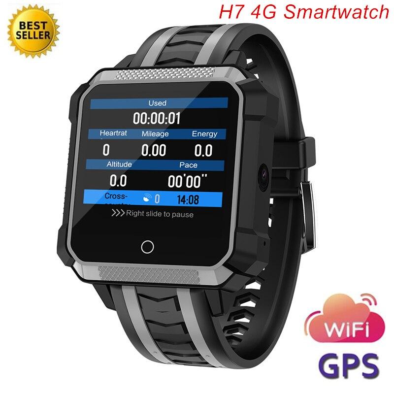 H7 4G Montre Smart Watch Hommes de Fréquence Cardiaque Étanche IP68 GPS Android 6.0 Altitude Barométrique Boussole Caméra Smartwatch Reloj Deportivo