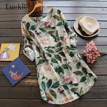 6XL Plus Size Autumn Dress 2019 Women Adjustable Sleeve Flower Printed Long Top Loose Cotton Vestidos Boho Beach Mini Dresses недорого