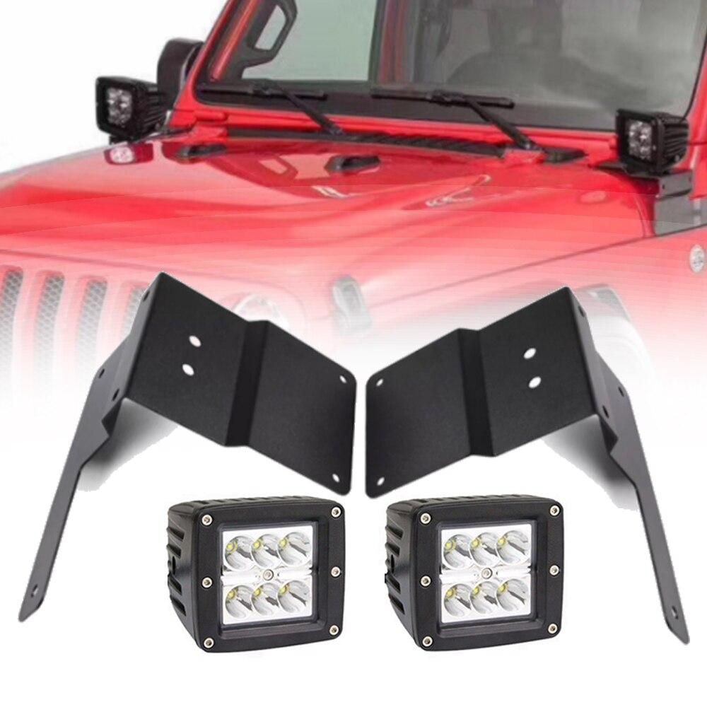 Автомобильный Черный Металлический A световой столб кронштейн держатель с 4 шт. 18 Вт светодиодный рабочий свет подходит для Jeep Wrangler JL 2018 2019