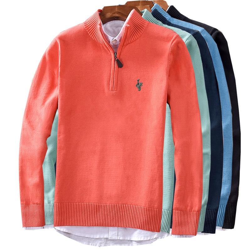 Men's Sweater Winter Pullover Zipper Men's Pullover Black Men's Sweater Pull High Collar Men's Sweater Christmas Cotton