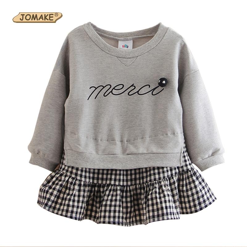 f5a360eb4b11 JOMAKE Girls Sweatshirts 2018 New Autumn Fashion Brand Kids Clothes Letter  Plaid Patchwork Children Pullover Tops