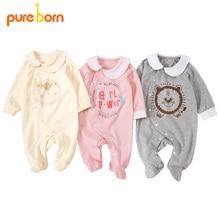 Pureborn 신생아 아기 Footies Footed Jumpsuit 아기 소년 옷 면화 아기 잠옷 긴 소매 봄 가을 의상