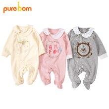 Pureborn noworodek Footies Footed kombinezon dla niemowląt chłopców ubrania bawełniane dziecięce piżamy z długim rękawem wiosna jesienny strój