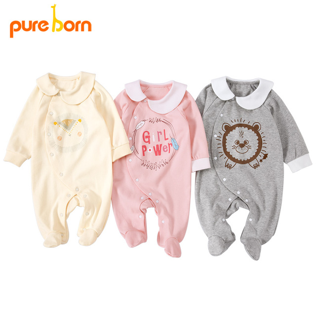 Pureborn yenidoğan bebek Footies ayaklı tulum bebek erkek giysileri pamuk bebek pijama uzun kollu bahar sonbahar kıyafeti