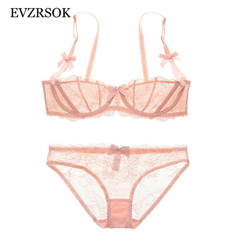 Women Embroidery Transparent   Bra     Set   Pink Ultrathin Underwear   Set   1/2 Cup   Bras   Sexy Brassiere White Temptation Lace Lingerie   Set
