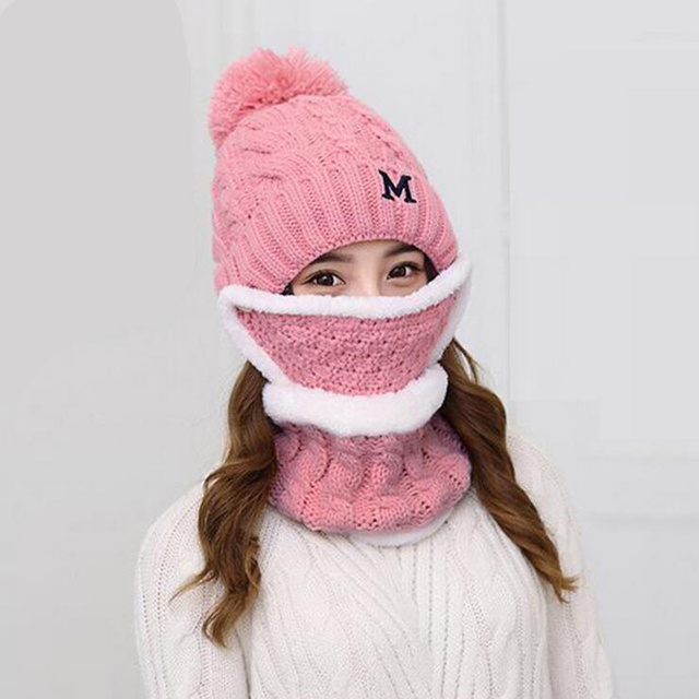 76d664b9eab A Set Of girls Women Winter Hats Scarves Masks Cotton Knitted Hat Scarf Set  For Male