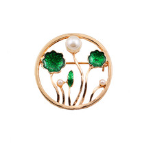 The new 2017 drops of glaze enamel fashion brand coat lotus pond moonlight texture brooch brooches female