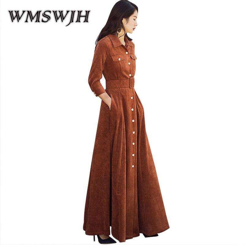 Women Autumn Winter Casual Dresses 2018 New Fashion Vintage Slim Corduroy Temperament Long Dresses Vestido De Festa Robe Femme