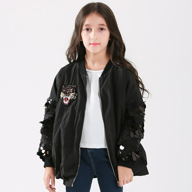 45476ceb0201 Teen Girls Jackets Embroidered Cartoon Tiger Black Coat for Teenage Girl  Children Outerwear For 5-
