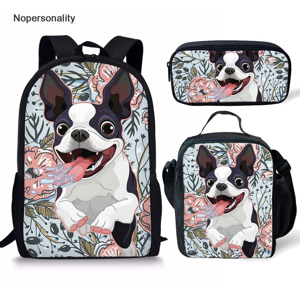 Nopersonality Adorable Boston Terrier Print School Bag Primary High School Children Bookbag Stylish Child Kids Schoolbags