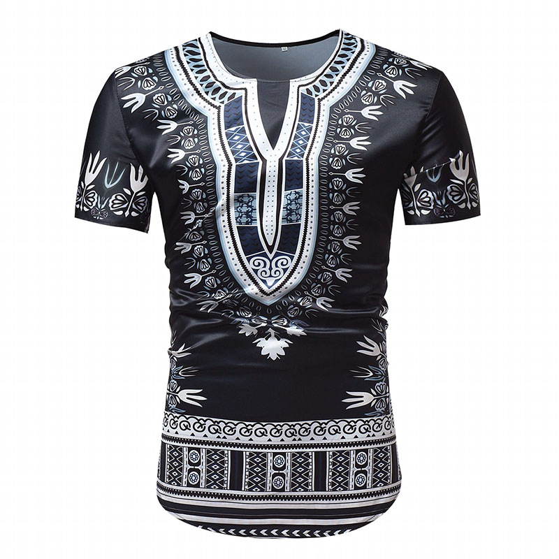 Adult Men African Dashiki Print Split Neck T-Shirt Slim Round Neck Tee Top Black Pullover Panther Shirt Tunic For Men Plus Size