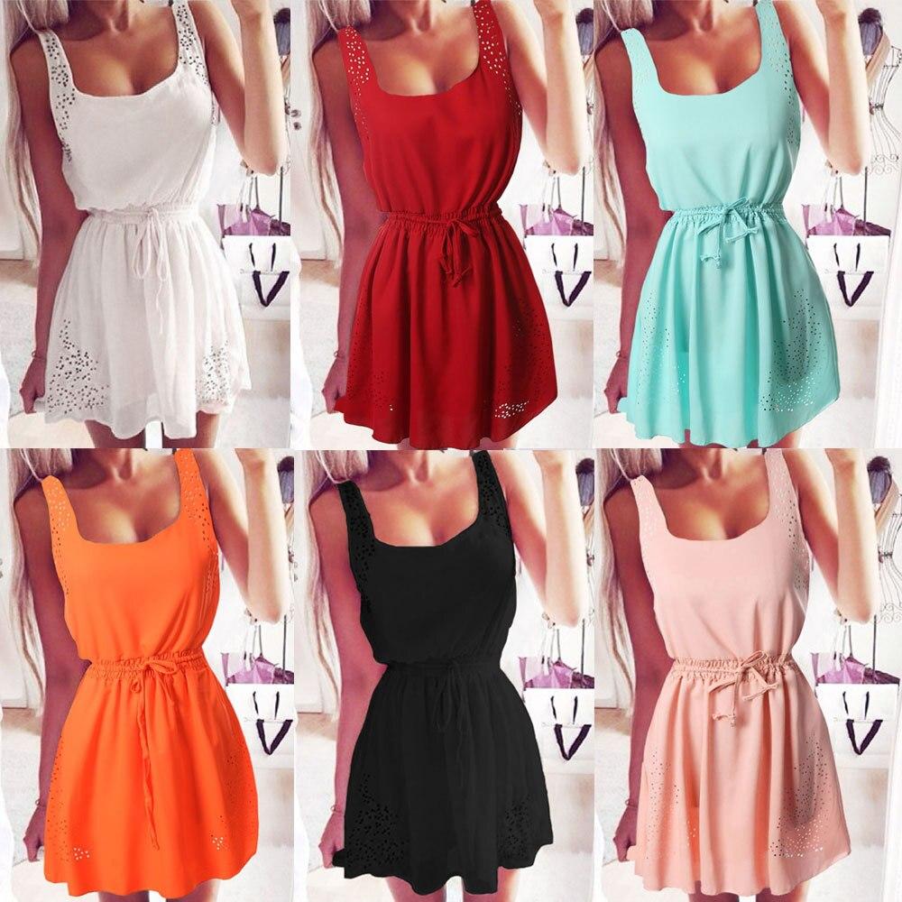 2017 New Sexy Womens Dresses Slim Sleeveless Hollow White Women Summer Dress Lady 2 Color Chiffon Mini Dresses Vestidos casual