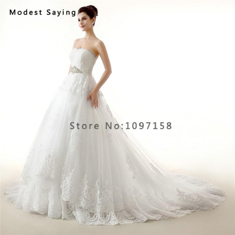 Lace Wedding Dresses with Rhinestones