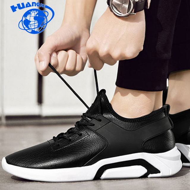 Homens Sapatos Casuais HUANQIU Respirável Lace-Up Andando Calçado Homens Sapatos Confortáveis Sapatilhas de couro Preto Plus Size 44 ZLL689
