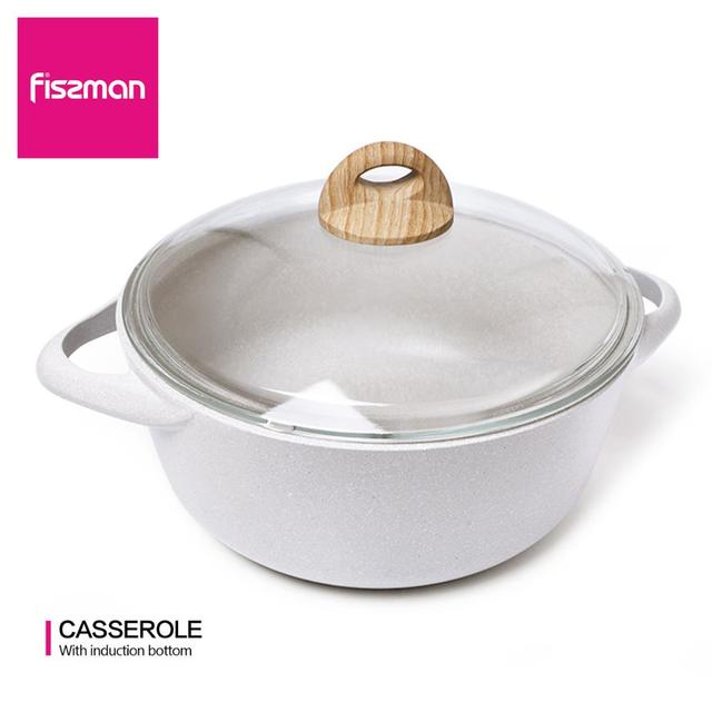 $ US $32.20 FISSMAN Casserole Non-stick Coating Aluminium Dot Induction Bottom Cooker BORNEO Series Shallow Pot with Lid