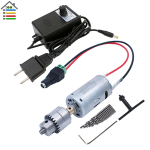 Image 2 - DIY 12V DC Motor Electric Drill Set Mini Drilling Woodworking Soft Metal Adjustable AC Power Supply Quick Connector EU/US Plug