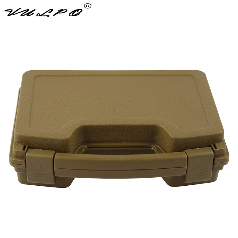 VULPO ABS Pistol Case Tactical Hard Pistol Case Gun Case Padded Foam Lining For Hunting Airsoft Box Dark Earth