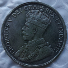 1921 George V, Sterling Silver Canada 50 Cents Half Dollar COPY(China)