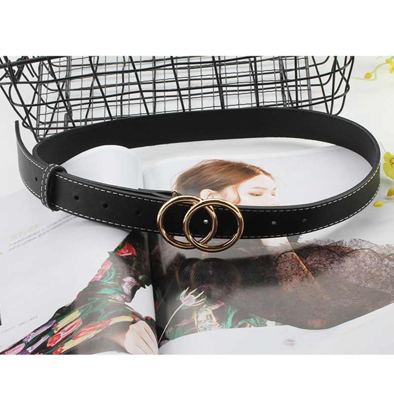 Hot 2019 Fashion Women Double Ring Belt Gold Silver Buckle Waist Belts For Lady Jeans Skinny Thin Leather Straps