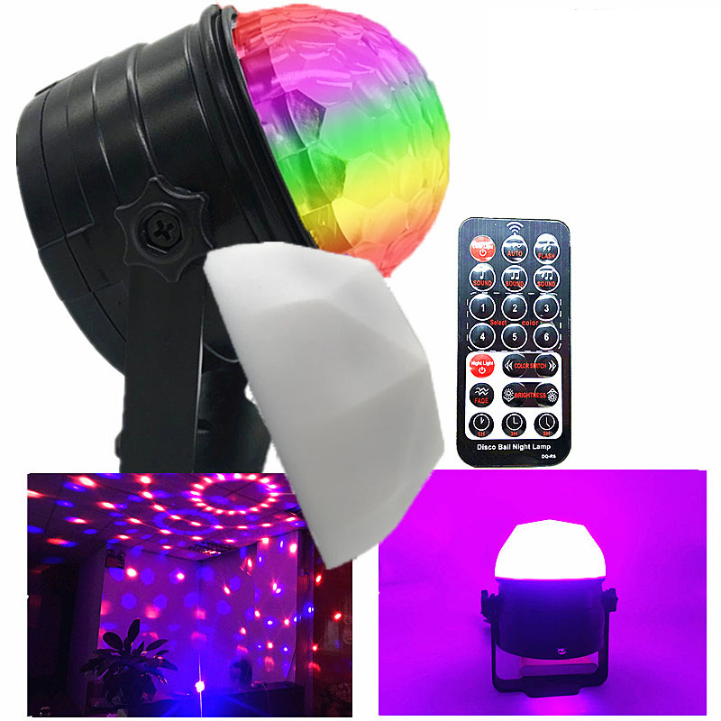 9W Mini RGB Crystal Magic Sound Activated Disco Ball Stage Lamp Lumiere Christmas Laser Projector Dj Club Party Light