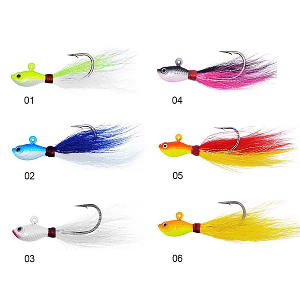 Big game fiskeri lokker 3d øjne Bucktail jig til Saltwater Fishing Lure flerfarvet 7g / 10g / 15g / 28g / 56g / gratis forsendelse