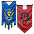 WOW World of Warcr Alliance Horde Banner Embroidery triangle Flag Dacron Cosplay Accessory Movie