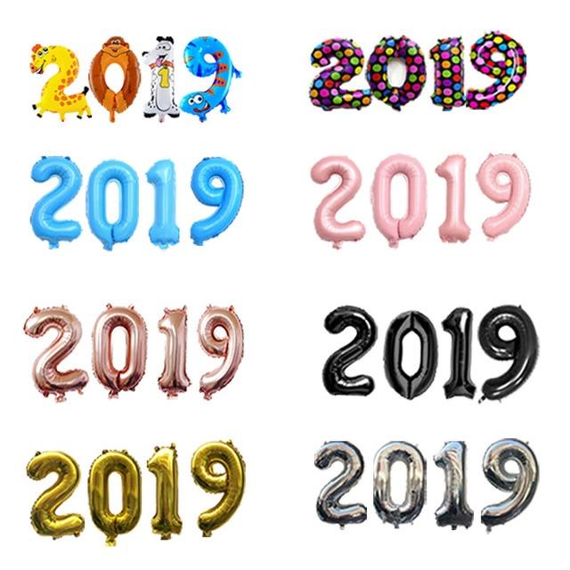 EACH PARTY New Year Decorations 2019 Number foil Balloons navidad Digital Globos Anniversary figures Air balloon Christmas 4 pcs