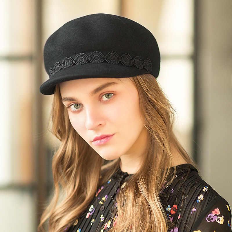 Весенне-зимний женский Французский Берет Кепка шерстяные фетровые шляпы осенние ретро элегантные женские шапки Newsboy теплая шляпа серый черный верблюжий