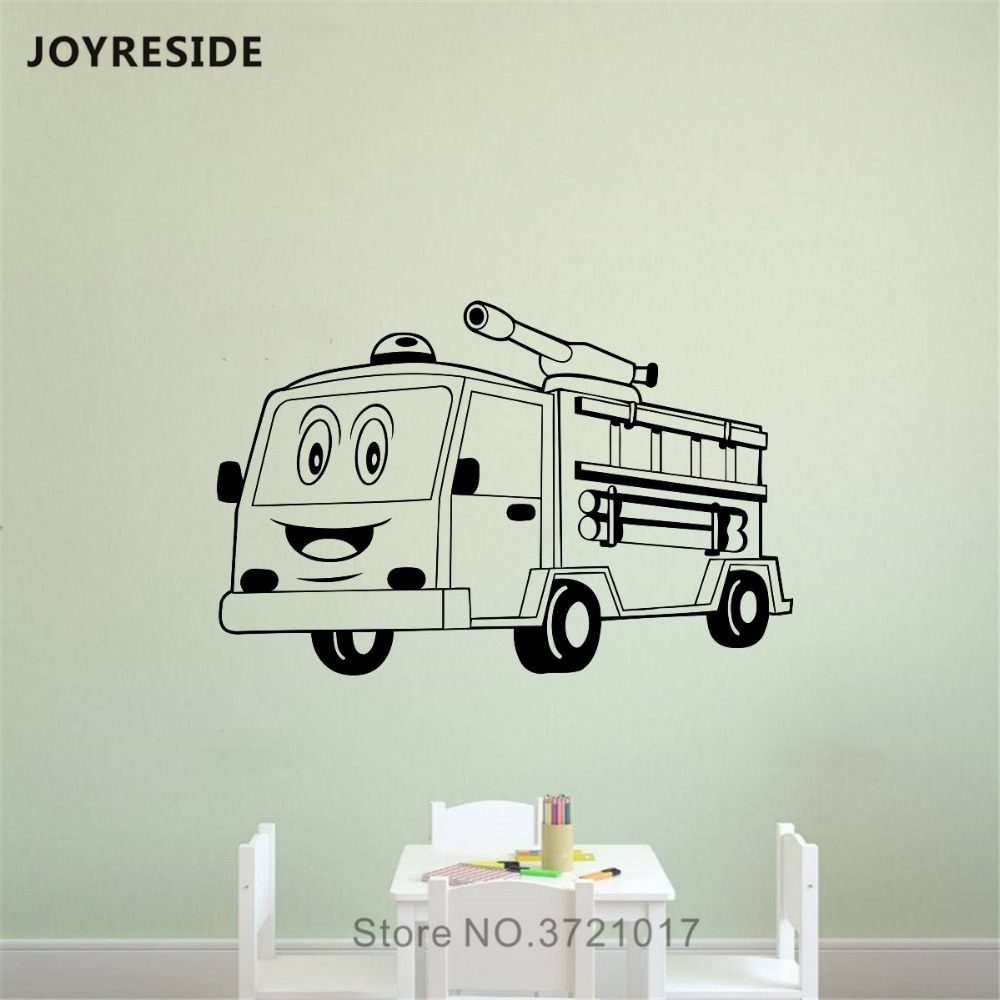 Home & Garden Home Decor Fire Truck Removable Wall Sticker Fireman Style Wallpaper Firefighter Pattern Wall Decal Engine Car Poster Fire Car Mural Az254